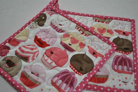 Cupcake Potholders - Quilted Potholders