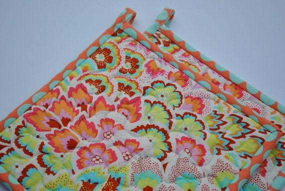 Amy Butler Pot Holders, Quilted Potholders, Soul Blossoms, Designer Potholders, Hotpads, Pot Holder