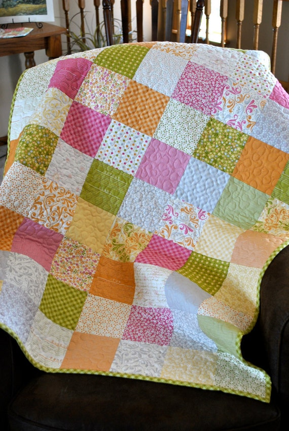 SALE Baby Girl or Toddler Quilt, Sunkissed Fabrics by Sweetwater, Patchwork Quilt, Crib Bedding, Modern Baby Quilt