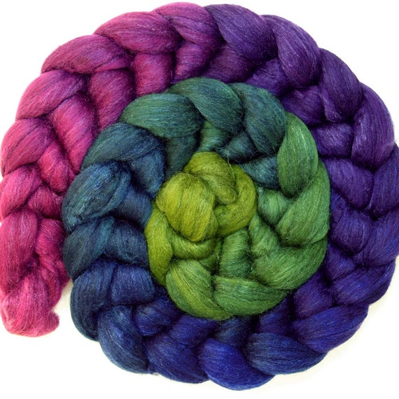 Bitter Lime to Rose Layered Gradient on  Merino and Silk Tops (Roving)
