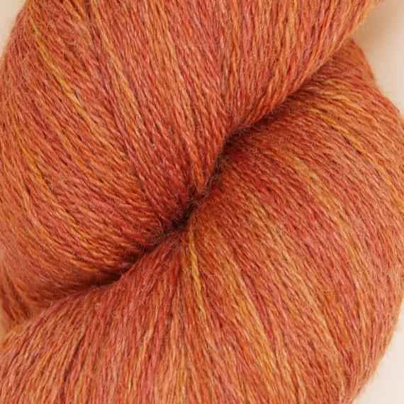 One of a kind 'Ginger' fine merino and silk lace weight yarn - 4 ounces and 1250 yds