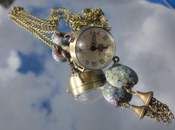 Floral Lampwork beads Round Ball necklace pendant Steampunk Retro Victorian Style Pocket Watch SRA - NM14