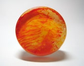 Red and Yellow Abstract Orange Painted Art Ring w/ Complimentary Shipping