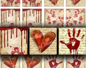 "BROKEN HEARTED - Digital Printable Collage Sheet - Dripping Blood Splatter & Handprints, Halloween Kitsch, 1"" Square, Instant Download"