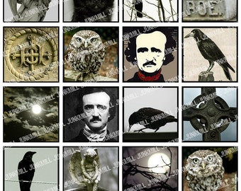 "THE RAVEN - Digital Printable Collage Sheet - Edgar Allen Poe with Owls, Crows & Black Cats, 1"" Square or Scrabble Tile, Instant Download"