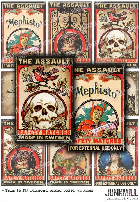 MEPHISTO  MATCHBOX - Digital Printable Collage Sheet - Vintage Halloween Matchbox Labels with Black Cats, Devils & Skulls, Instant Download