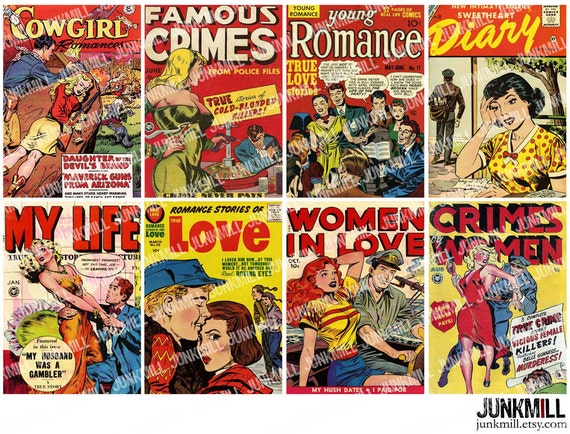 Romance Book Cover Ups : Pulp romance digital printable collage sheet comic