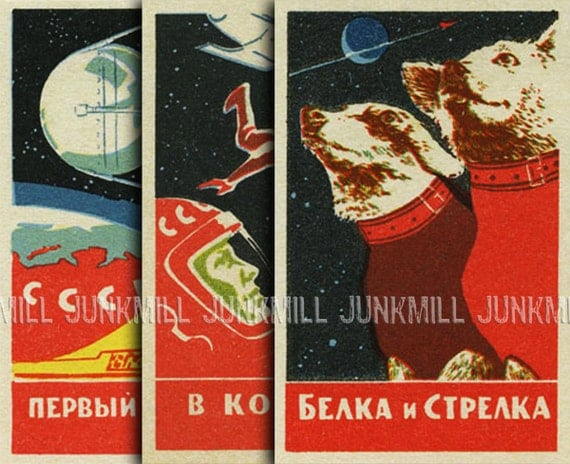 SPACE DOGS - 3 Digital Printable Images - Soviet Space Program, Satellites, Cosmonauts, Laika, Vintage Matchbox Covers, Instant Download