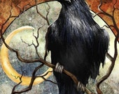 PROTECTION - Raven and the Crescent Moon - Apothecary label