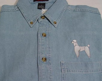 SALE - Small WHITE POODLE Dog Embroidered Long Sleeve Light Blue Denim Shirt - Price Embroidery Apparel