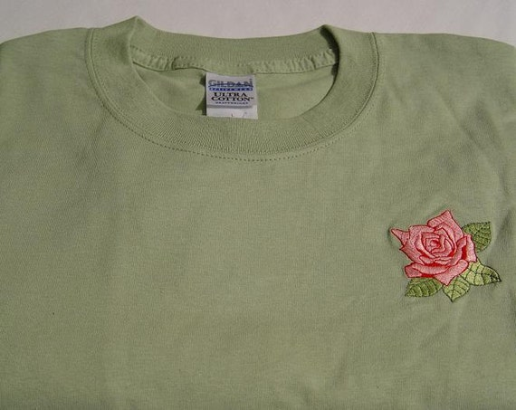 SALE - Small PINK ROSE Serene Green Short Sleeve June Flower of Month Tee Shirt  -  Price Embroidery Apparel
