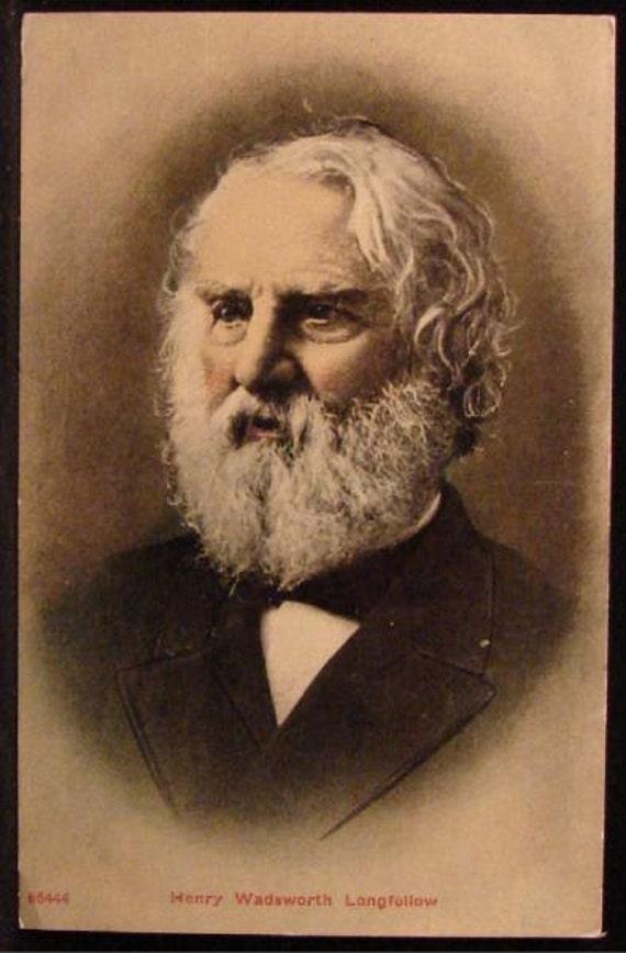 Art Portrait Henry Wadsworth Longfellow Early 1900s Antique Postcard