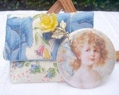 Victorian Girl Pocket Mirror with Case and Vintage Rose Brooch on Clearance