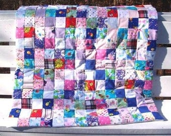 I Spy Flannel Baby or Toddler Patchwork Quilt