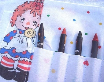 Raggedy Ann and Andy Vintage Fabric Crayon Wallet on Clearance