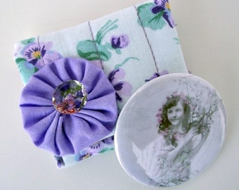 Victorian Girl Pocket Mirror in Violets Carrying Case