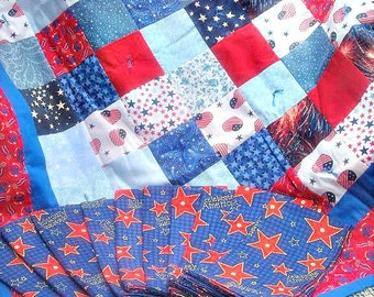 4th of July Quilted Table Topper and 10 Cloth Napkins