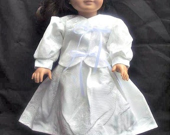 Beautiful White Brocade Outfit for 18 Inch Fashion Doll