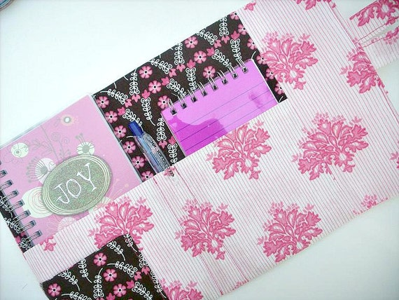 Elegant Pink Striped Personal Planner Wallet and Organizer