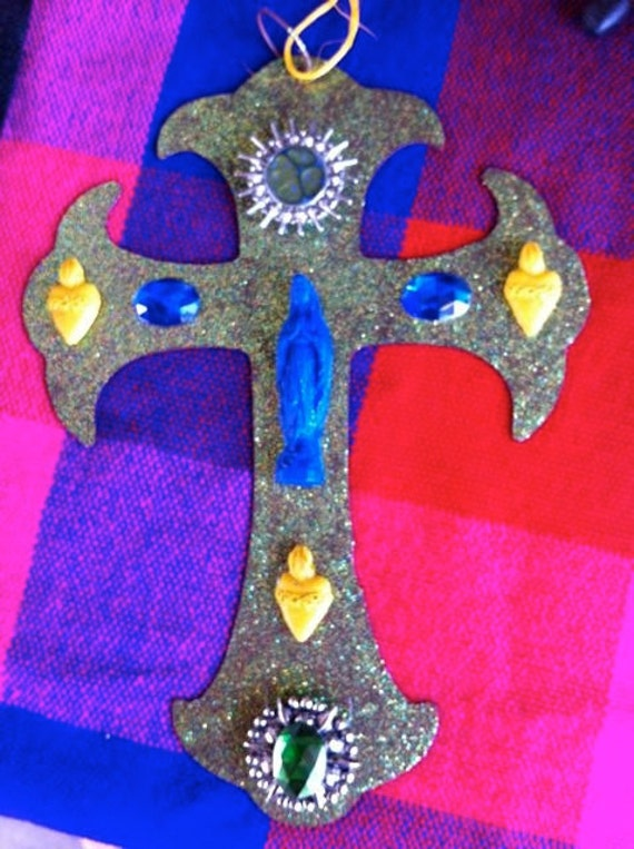 Blue Virgin Mary Help of Christians Crucifix and Sacred Hearts
