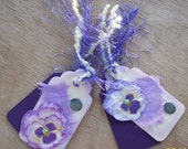 Purple Pansy Tag Set