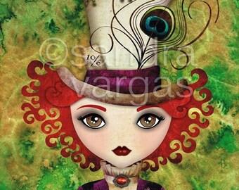 Lady Hatter, 8.5 x 11 Print Digital Illustration