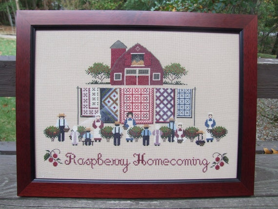 Raspberry Homecoming Completed Cross Stitch - Professionally Framed - Reserved for jncvs