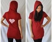 SALE Red Heart Lounge Wear - short sleeves, hoddie, heart applique