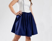 SALE - Navy Blue Piping Dress - Sweet Heart Neckline, Two-tone Dress, M