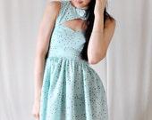 SALE Mint Chocolate Chip Sweet Heart Neckline Dress - Peek-A-Boo Key Hole - Cut Out - S