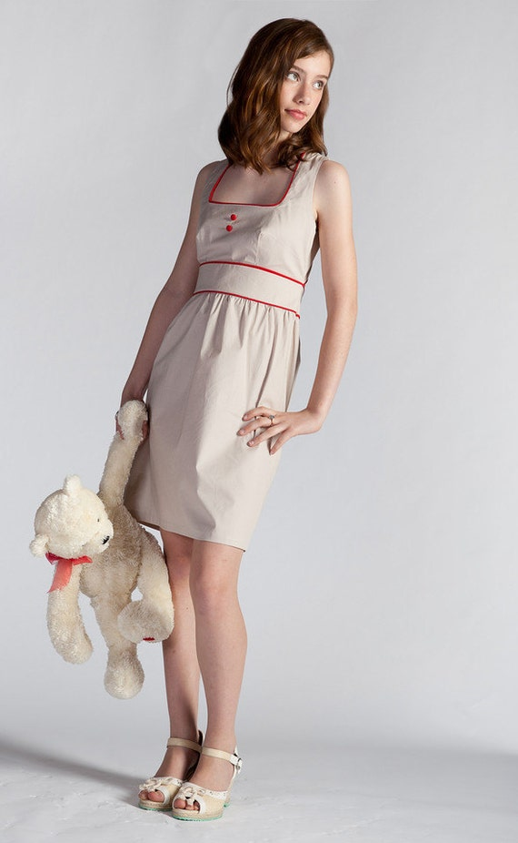 Red Piping Back Envelop Dress