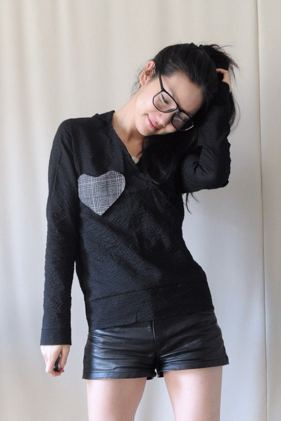 Black Heart Hoodie - Gift Idea for Her