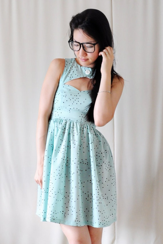 SALE Mint Chocolate Chip Sweet Heart Neckline Dress - Peek-A-Boo Key Hole - Cut Out - S