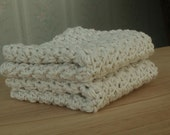 Pair of Crochet Cotton Cream Dishcloths / Washcloths - by Catie's Cottage Crafts