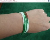 CHRISTMAS IN JULY Sale Clearance - Red White and Green Crochet Cotton Bracelet with Metal Toggle Clasp - By Catie's Cottage Crafts