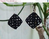 CHRISTMAS IN JULY Sale Clearance - Crochet Black Granny Square Earrings - by Catie's Cottage Crafts