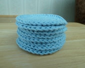 Set of 8 Cotton Crocheted Face Scrubbies in Blue - by Catie's Cottage Crafts