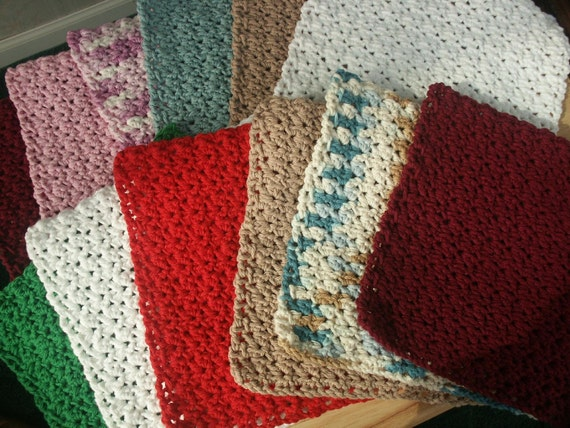 CHRISTMAS IN JULY Sale - Reserved for Uneek4u - Sample Cotton Crochet Dishcloth - Washcloth - by Catie's Cottage Crafts