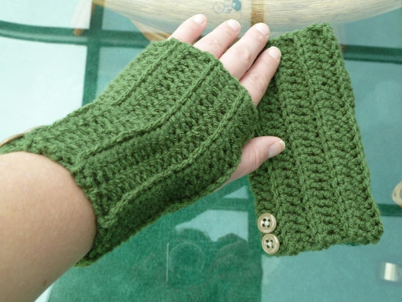 Fingerless Gloves (mittens) in Thyme - Green