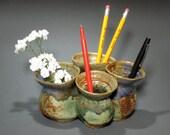 Wide Springtime Green Smoosh-Pot Vase