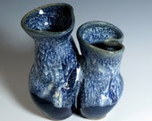 Rich Blue and Lacey White Smoosh-Pot Vase