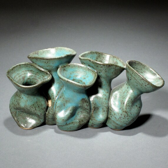 Five Turquoise Smoosh-Pot