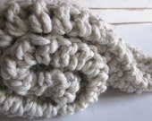 Chunky wool blend blanket-throw for baby - OATMEAL