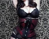 Black & Red Corset Underbust Rock n Roll Fleur de lis Skull  BUY NOW size XXS