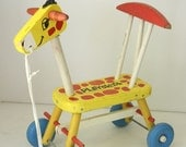 VTG Playskool wooden ride on giraffe 1966