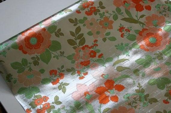 reserved for mrcaplan.....vintage floral metallic wallpaper
