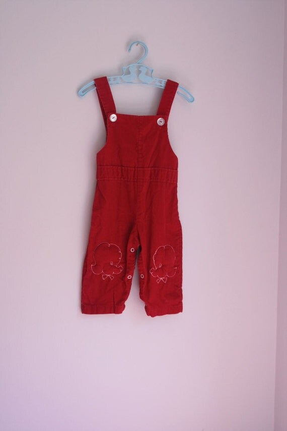 Vintage red corduroy overalls with poodle knees 12-18 months