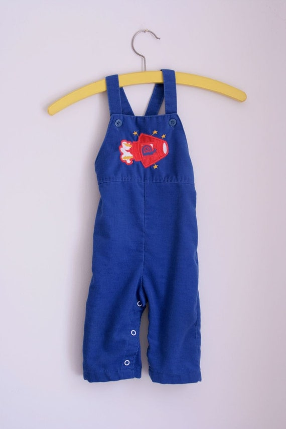 Vintage Healthtex blue corduroy overalls with space ship 12 months