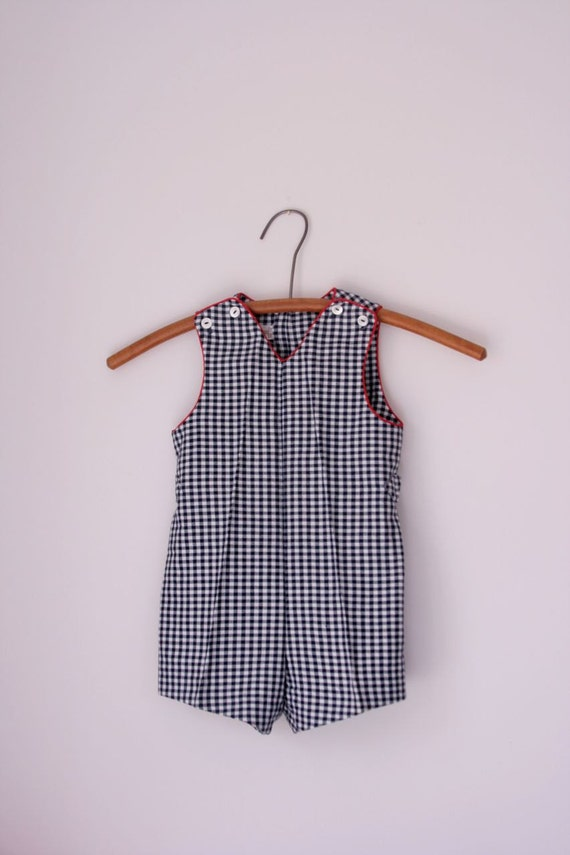 reserved for tracy....Vintage MerryMItes navy and white gingham jonjon 2t