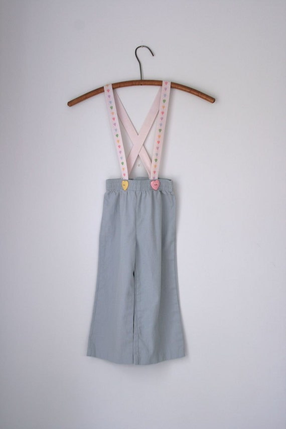 VTG NOS Tiddley Winks grey pants with heart suspenders size 3T